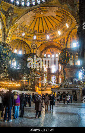 Interior of the Hagia Sophia museum, Istanbul - Stock Photo