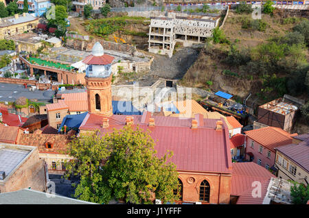 Top view Jumah Mosque in Abanotubani district in the Old Town of Tbilisi. Georgia - Stock Photo