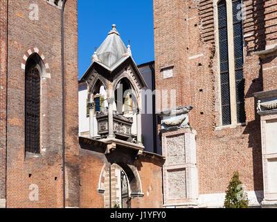 travel to Italy - Arch with tomb ( Arca di Guglielmo da Castelbarco) in Basilica di Sant Anastasia in Verona city - Stock Photo