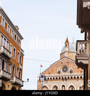 travel to Italy - view of Basilica of Saint Anthony of Padua on piazza del Santo in Padua city from street - Stock Photo