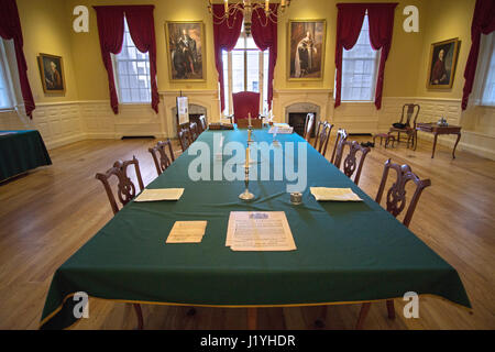The Council Chamber room at the Old State House in Boston, Massachusetts. - Stock Photo