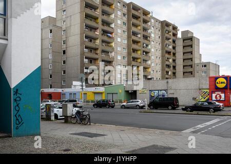 Berlin. Germany. Pre fabricated concrete apartment buildings (Plattenbau) on Brunnenstraße, Wedding. - Stock Photo
