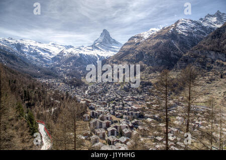 View of the famous Matterhorn and Zermatt in the Swiss Alps - Stock Photo