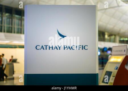 Hong Kong - circa March 2017: Cathay Pacific check-in counter at Hong Kong International Airport. Cathay Pacific - Stock Photo