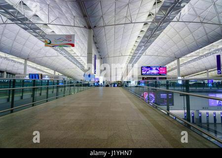 Hong Kong - circa March 2017: Entrance area of Hong Kong International Airport. It is the main airport in Hong Kong. - Stock Photo