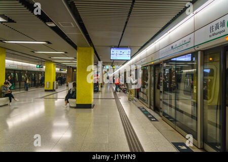 Hong Kong - circa March 2017: MTR station in Hong Kong. The Mass Transit Railway is the rapid transit railway system - Stock Photo