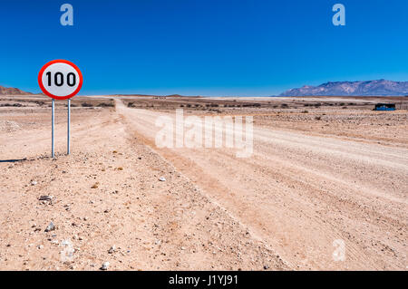 The main road C35 in the north-west of Namibia. Branches off from the C34 at Henties Bay along the Atlantic coast - Stock Photo