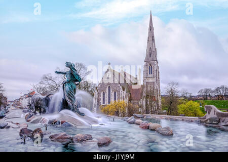Gefion Fountain, St Alban's church, Copenhagen, Scandinavia, Denmark - Stock Photo