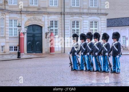 guards at Palace Amalienborg in Copenhagen, Denmark, Scandinavia - Stock Photo