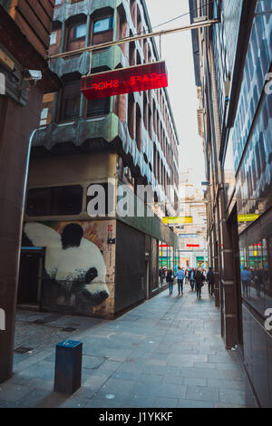 Glasgow's Giant Panda by James Klinge on Mitchell Lane, Glasgow. - Stock Photo