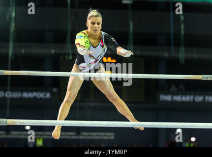 Cluj Napoca, Romania. 22nd Apr, 2017. Elisabeth Seitz from Germany competes at the asymmetrical bars at the UEG - Stock Photo