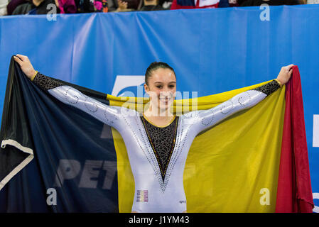 Cluj Napoca, Romania. 22nd Apr, 2017. Nina Derwael from Belgium after competing at the asymmetrical bars at the - Stock Photo