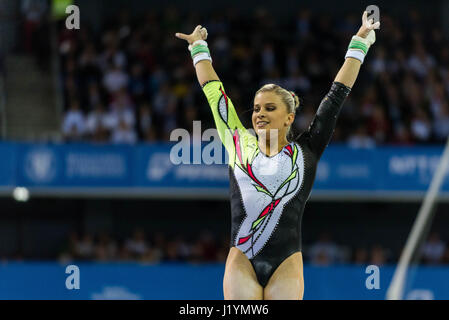 Cluj Napoca, Romania. 22nd Apr, 2017. dpatop - Elisabeth Seitz from Germany competes at the asymmetrical bars at - Stock Photo