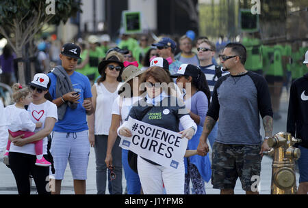San Diego, CA, USA. 22nd Apr, 2017. Thousands gathered at San Diego's Civic Center to rally against cuts to government - Stock Photo