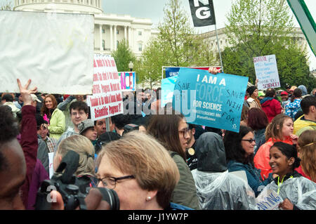 Washington DC, USA. 22nd April, 2017. Demonstrators participate in the March for Science. Kirk Treakle/Alamy Live - Stock Photo