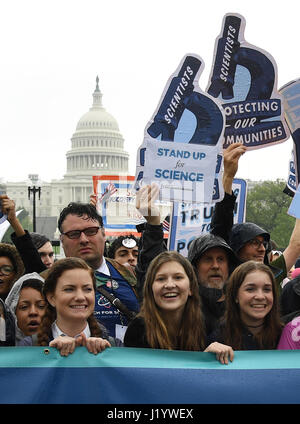 Washington, USA. 22nd Apr, 2017. Demonstrators participate in the March for Science in Washington, DC, the United - Stock Photo