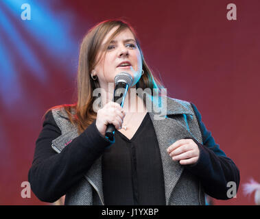 London, UK. 22nd April 2017. Natalie Coleman, a MasterChef winner speaking on the stage at St George's Day celebrations - Stock Photo
