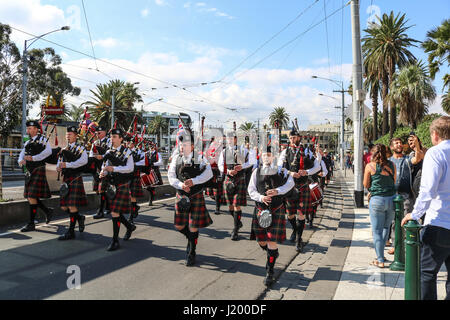 Melbourne Australia. 23rd April 2017. With 2 days until  Anzac Day, Members of the Melbourne Highland Pipe band - Stock Photo