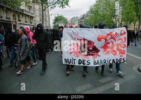 Paris, France. 22nd Apr, 2017.  Paris First Social Tour's (Premier Tour Social) protest demonstration against french - Stock Photo