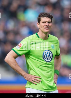 Berlin, Germany. 22nd Apr, 2017. Wolfsburg's Mario Gomez reacts during the German Bundesliga soccer match between - Stock Photo