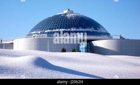 The Perlan building after heavy snowfall, Öskjuhlíð, Reykjavík, Iceland. - Stock Photo
