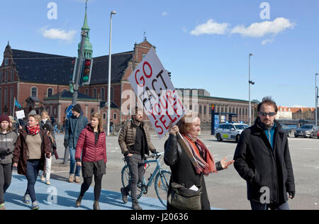 The March for Science in Copenhagen arrives at Christiansborg Castle Square after a two hours march through Copenhagen - Stock Photo