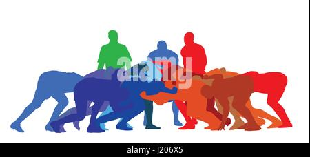 Best Color Sport Silhouette Isolation – Rugby Full Scrum - Stock Photo