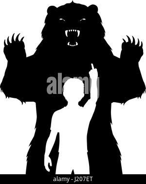 Editable vector illustration of a boy unafraid of a fierce bear - Stock Photo