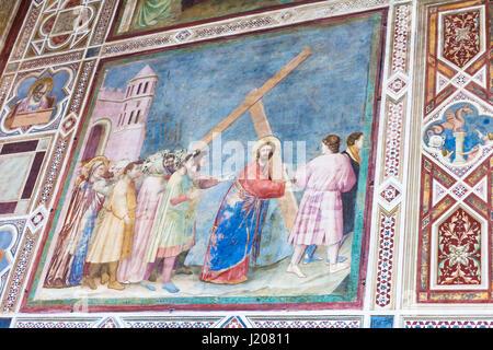 PADUA, ITALY - APRIL 1, 2017: wall frescoes in Scrovegni Chapel (Cappella degli Scrovegni, Arena Chapel). The church - Stock Photo