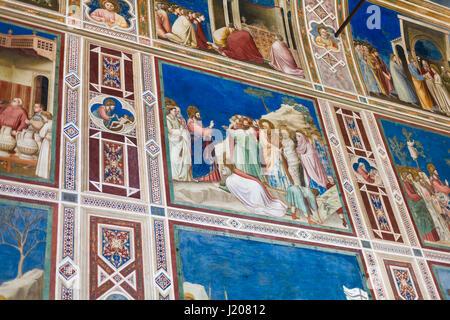 PADUA, ITALY - APRIL 1, 2017: paintings in Scrovegni Chapel (Cappella degli Scrovegni, Arena Chapel). The church - Stock Photo