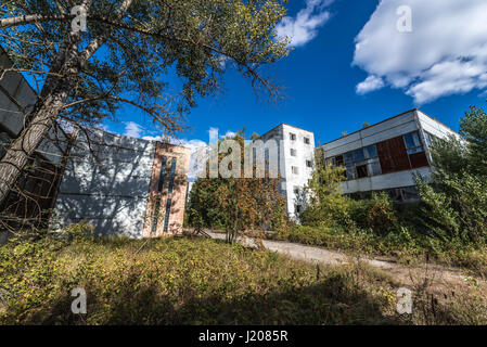Abandoned Jupiter Factory in Pripyat ghost town of Chernobyl Nuclear Power Plant Zone of Alienation in Ukraine - Stock Photo