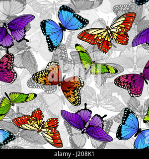 A seamless colorful butterfly background pattern - Stock Photo