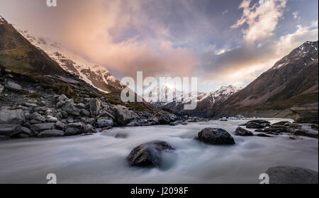 Hooker River, Hooker Valley, Rear Mount Cook, Mount Cook National Park, Southern Alps, Canterbury Region, Southland, - Stock Photo