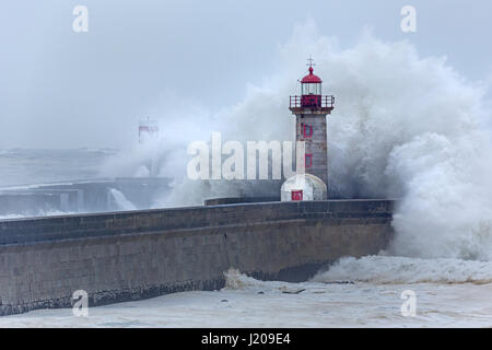 Lighthouse of Porto with storm, Portugal, Europe - Stock Photo