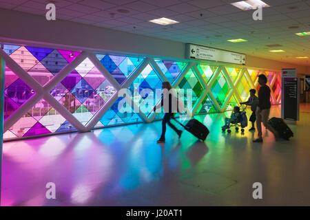 Miami, Fl, USA - March 24, 2017: Colorful windows in the Miami International Airport. Florida, United States - Stock Photo