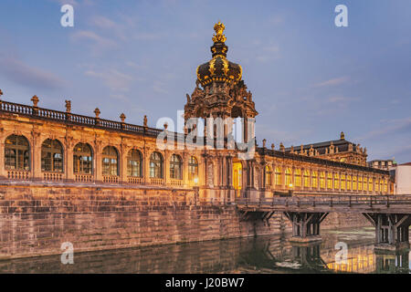 View over Zwinger moat to Crown Gate, Dresden, Saxony, Germany, Europe - Stock Photo