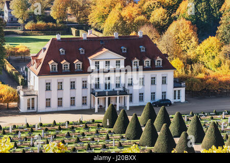 The baroque castle Wackerbarth is a wine-growing estate in Radebeul near Dresden, administrative district Meissen, - Stock Photo