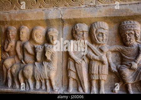 Closeup of Catalan roman art sculpture in the monastery of Elne, France - Stock Photo