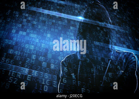 Hidden identity of a hacker - Stock Photo