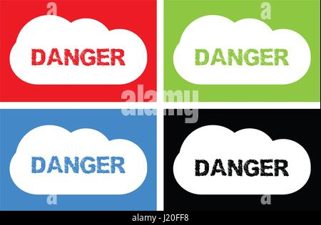 DANGER text, on cloud bubble sign, in color set. - Stock Photo