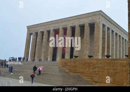 People are seen at Anitkabir (Ataturk Mausoleum) to celebrate National Sovereignty and Children's Day on April 23, - Stock Photo