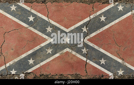 Old grunge vintage dirty faded shabby distressed American US Confederate South historical flag background on broken - Stock Photo