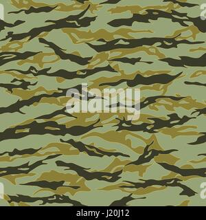 Forest Tiger stripe Camouflage seamless patterns. Vector Illustration.