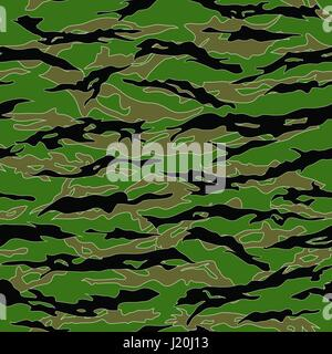 Jungle Tiger stripe Camouflage seamless patterns. Vector Illustration.