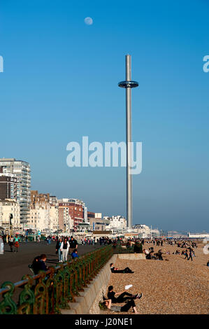 The i360 is the world's tallest moving observation tower. Passengers on  are transported in a pod 162 metres above - Stock Photo