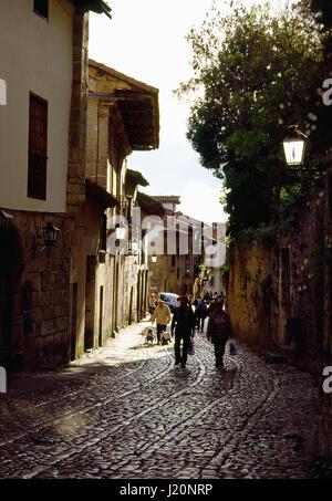 Street. Santillana del Mar, Cantabria, Spain. - Stock Photo