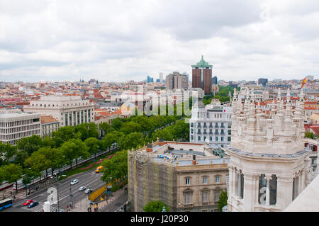 Paseo de Recoletos, view from above. Madrid, Spain. - Stock Photo