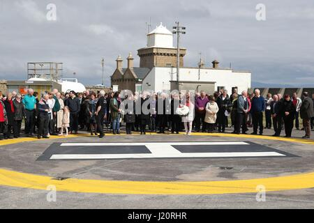 Crowds during a wreath laying ceremony for the crew of the Irish Coast Guard helicopter crash Rescue 116 at the - Stock Photo