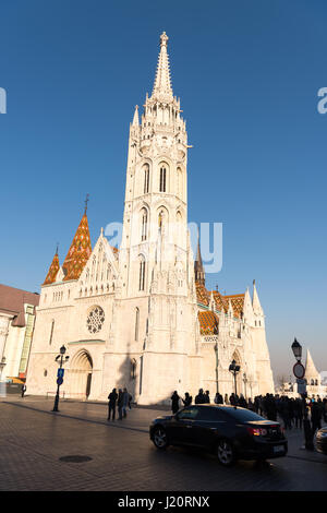 Cathedral of St. Matthias near the fisherman bastion in Budapest, Hungary - Stock Photo