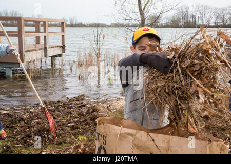 Detroit, Michigan - Volunteers from a Cub Scout pack help clean Belle Isle, a state park on an island in the Detroit - Stock Photo